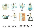 man 3d game icon set. cartoon... | Shutterstock .eps vector #1029725413