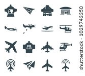 aircraft icons. set of 16... | Shutterstock .eps vector #1029743350