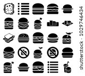 burger icons. set of 25... | Shutterstock .eps vector #1029746434