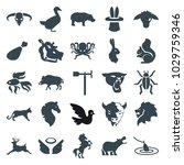 animal icons. set of 25... | Shutterstock .eps vector #1029759346