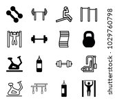 gym icons. set of 16 editable... | Shutterstock .eps vector #1029760798