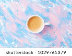 coffee or cappuccino on punchy...   Shutterstock . vector #1029765379