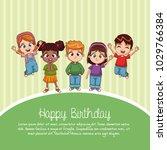 happy birthday card cartoons | Shutterstock .eps vector #1029766384