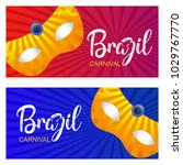 Happy Brazilian Carnival Day. red and blue carnival banners with golden masks and whtie typographies