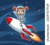 girl on space with rocket... | Shutterstock .eps vector #1029767929