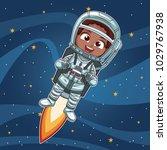 astronaut girl flying on space | Shutterstock .eps vector #1029767938
