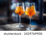 aperol spritz drink on bar... | Shutterstock . vector #1029769900