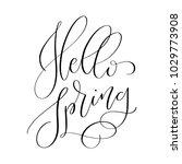 hello spring  hand lettered... | Shutterstock .eps vector #1029773908