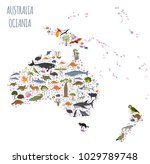 australia and oceania flora and ... | Shutterstock .eps vector #1029789748