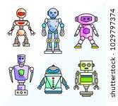 set of vector cartoon friendly... | Shutterstock .eps vector #1029797374