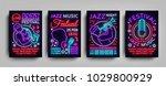 jazz festival posters neon...   Shutterstock .eps vector #1029800929