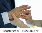 putting the wedding ring on... | Shutterstock . vector #1029803479