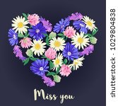 miss you card with floral heart.... | Shutterstock .eps vector #1029804838