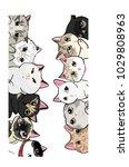 Stock vector wallpaper family cats 1029808963
