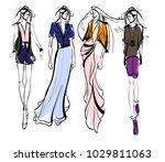 stylish fashion models. pretty...   Shutterstock .eps vector #1029811063