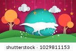dinosaur illustration. cartoon... | Shutterstock .eps vector #1029811153