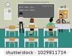 students and teacher in... | Shutterstock .eps vector #1029811714