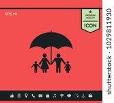 family under umbrella   family... | Shutterstock .eps vector #1029811930