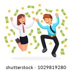 rich people  employee jumping... | Shutterstock .eps vector #1029819280