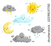 cartoon weather mascots set.... | Shutterstock .eps vector #1029819700
