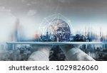 hand holding digital tablet... | Shutterstock . vector #1029826060