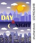daylight and night lights city... | Shutterstock .eps vector #1029826648