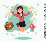 happy woman  girl  employee... | Shutterstock .eps vector #1029827110