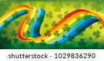 rainbow and shamrocks  on a... | Shutterstock .eps vector #1029836290