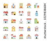 pack of buildings flat vector... | Shutterstock .eps vector #1029838684