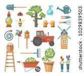 spring gardening vector flat... | Shutterstock .eps vector #1029839503