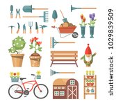 spring gardening vector flat... | Shutterstock .eps vector #1029839509