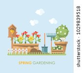 spring gardening vector flat... | Shutterstock .eps vector #1029839518