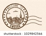 welcome to sweden. brown postal ... | Shutterstock . vector #1029842566