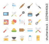 kitchen utensils flat vector... | Shutterstock .eps vector #1029844063