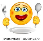 hungry emotions of the smiley.... | Shutterstock .eps vector #1029849370