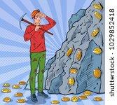 pop art male miner in helmet... | Shutterstock .eps vector #1029852418