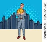 pop art happy businessman... | Shutterstock .eps vector #1029854050