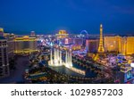 Las Vegas, USA - January 02, 2018: Illuminated view Bellagio Hotel fountains and Las Vegas strip - stock photo