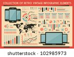 retro vector set of infographic ... | Shutterstock .eps vector #102985973