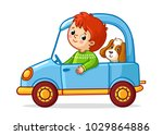 boy with a dog is riding a blue ... | Shutterstock .eps vector #1029864886