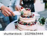 close up beautiful wedding cake | Shutterstock . vector #1029865444