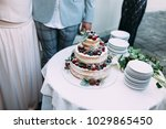 close up beautiful wedding cake | Shutterstock . vector #1029865450