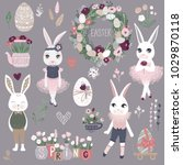 vector set of cute happy easter ... | Shutterstock .eps vector #1029870118