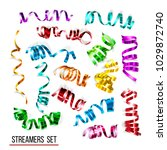 festive colorful ribbons on... | Shutterstock . vector #1029872740