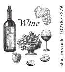 wine sketch. set. | Shutterstock .eps vector #1029877279