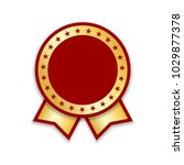 award ribbon isolated. gold red ... | Shutterstock .eps vector #1029877378