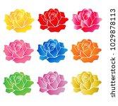 rose flower on white background ...   Shutterstock .eps vector #1029878113