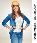 woman builder wearing blue... | Shutterstock . vector #1029889024