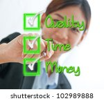 Businesswoman check box concept of time, quality and money isolated on white - stock photo