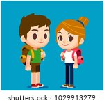 vector set of cute man and... | Shutterstock .eps vector #1029913279